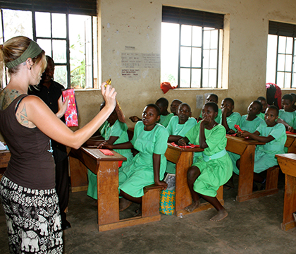 Sarah teaching the girls at Kihwa Primary School how to use reusable menstrual pads. Photo courtesy Sarah Zelinski.