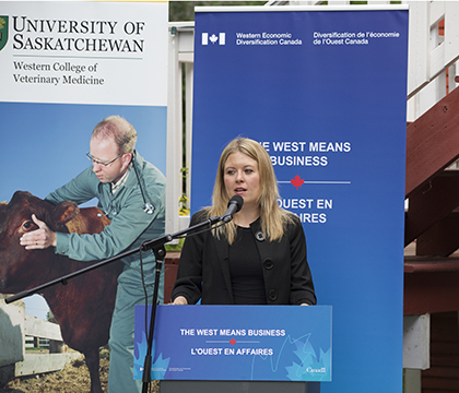 Michelle Rempel, Minister of State for Western Economic Diversification speaks at the July 14 funding announcement. Photo: Jeanette Stewart.